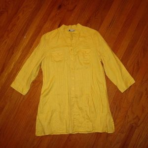 CAROLE LITTLE yellow tunic 100% linen size XL